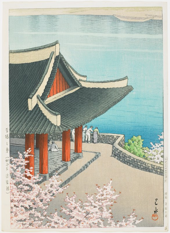 red-pillared pavilion with a wall overlooking calm water; figures seated under pavilion and standing by wall, overlooking water; cherry blossoms, LLC; boats on opposite bank, URC