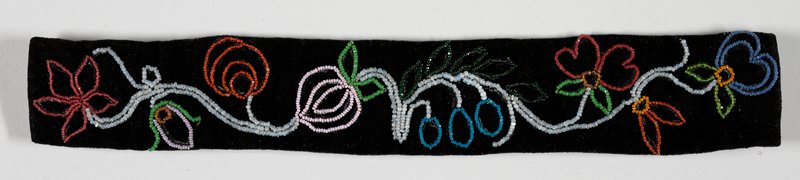 outline of flowers on scrolling stem in multicolored beads on black velvet; blue gingham backing