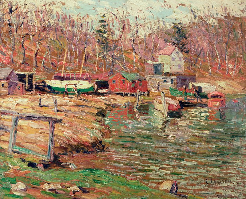 Landscape. Impressionist view of river bank with boats and small buildings; trees in background.