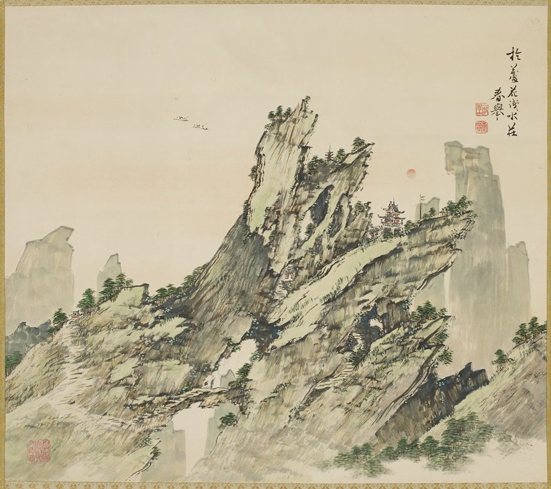 rugged mountain peak, with rock formations pointing to R; some rooftops and small buildings visible; two figures near bottom, L of center; two birds in sky; predominately green with touches of red