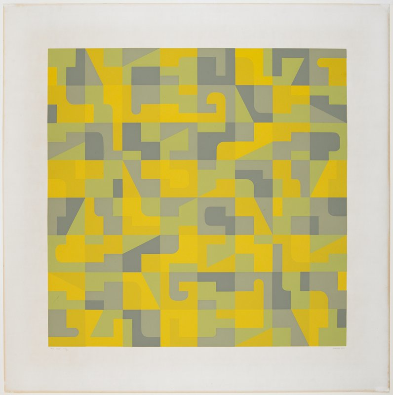 eight by eight grid with geometric design in each square; pea green, medium and light grey, and light and dark yellow; white margins