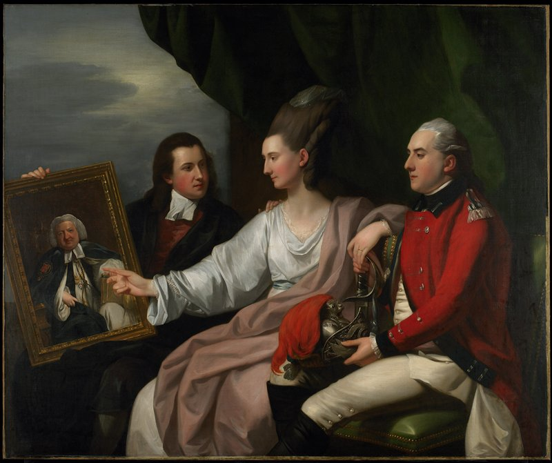 Portrait. Peter Auriol Drummond, colonel in the Yorkshire militia is holding the hand of his bride, Mary Bridget Milnes, wearing the flowing robes and high powdered headdress popular in the 18th century. George William Drummond the sixth son of Robert Hay Drummond is seated at the left, and they are all looking at a portrait of their father Robert Hay Drummond, Archbishop of York, painted by Sir Joshua Reynolds in 1764.