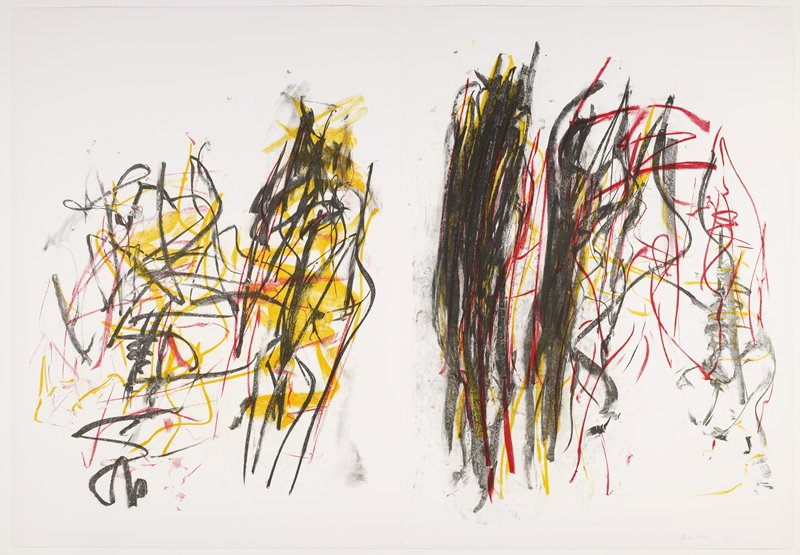 two separate sheets; abstract images; L image has lines and squiggles, with mainly vertical black lines at R of sheet with thick yellow horizontal zigzag-like marks behind; R image has heavy black marked areas at L of sheet with red thin arcs and lines at R; both sheets are black, yellow and red on white; framed together