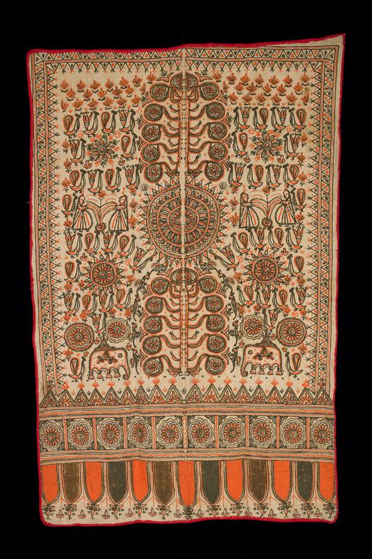 coarse woven tan ground with red edging; symmetrical design painted in orange, green, khaki and brown with roundels, birds, pairs of human figures, elephants and plants; flower band and lappet band at bottom; grey marks on back may be faded inscription
