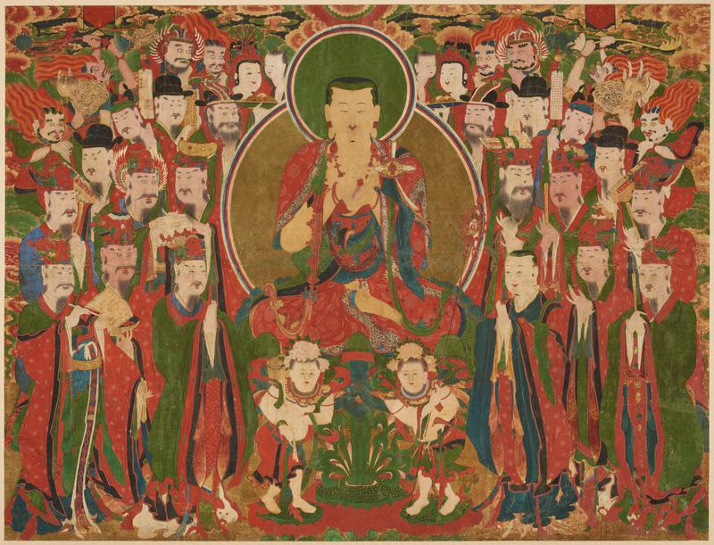 central seated figure (Ksitigarbha) holding a clear sphere between cupped hands, circles about body and head; figure surrounded by people with two smaller figures below.