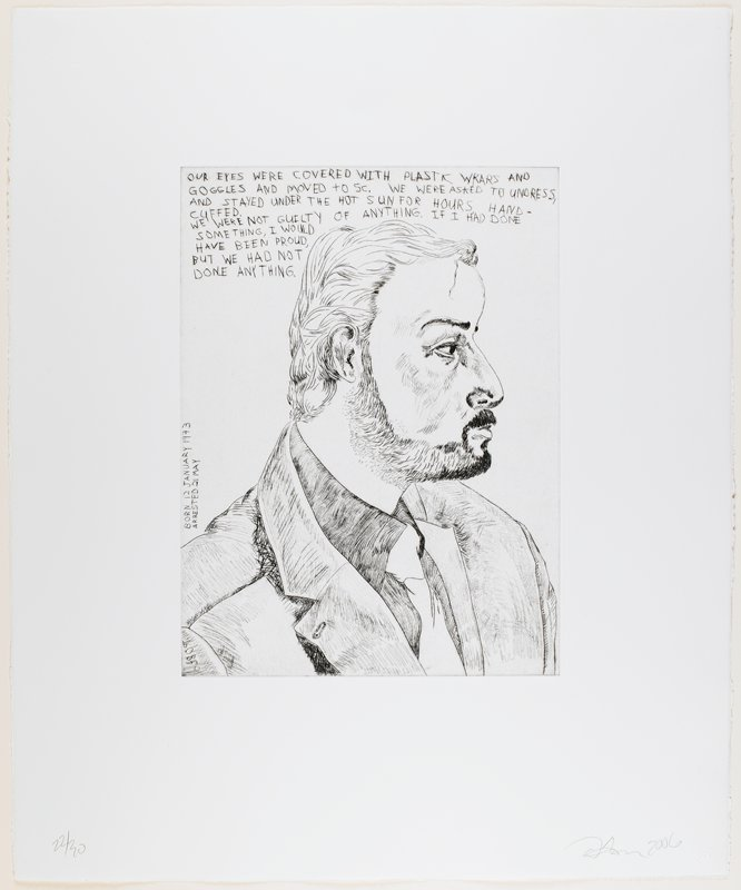 line drawing-style portrait of a man in profile (PR) with large nose, thick hair and beard; man wears jacket, dark shirt and tie; text above and to L of figure