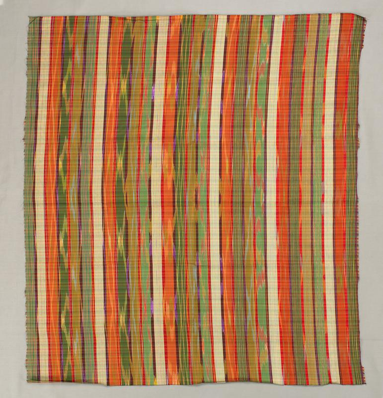 stripes of various widths and colors; subtle plaid checks; ikat zigzags mainly in yellow; back appears plaid with subtle ikat zigzags