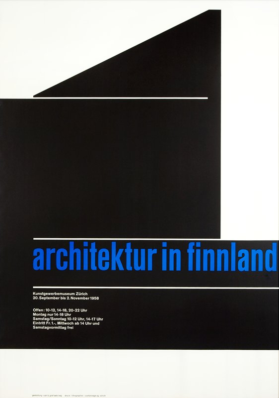 white ground with black geometric areas; title text in blue; other text in white; framed behind plexi with black frame