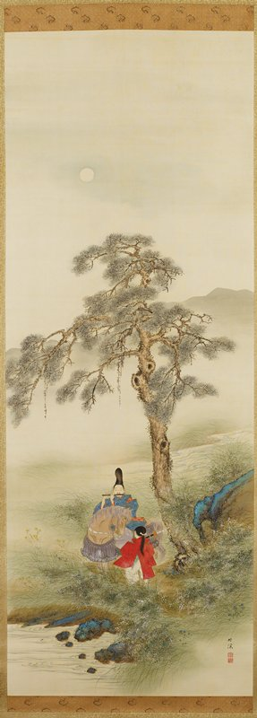 sparse landscape with one tree at center; shadowy mountain silhouettes; blue-green and brown rocks at edge of water, LLC, and at right to right of tree; tiny blue, white and yellow flowers; man wearing a black hat and blue and orange kimono, seated on horse and playing a black flute; child in red and green garment, holding sword, seen from back, with long ponytail