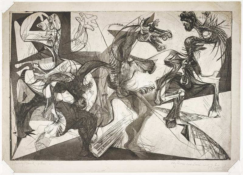 abstract image with heads and front quarters and legs of horses; abstracted human facial features, hands and feet at left