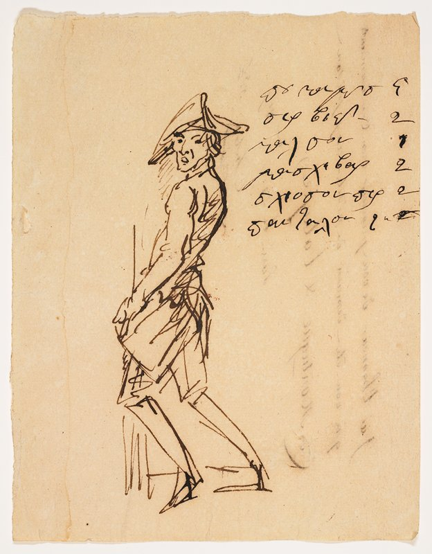 sketch of a man wearing a tri-cornered hat and knickers, standing in an awkward profile pose with bent knees and head turned over PL shoulder; illegible text in URC; lines of text on verso