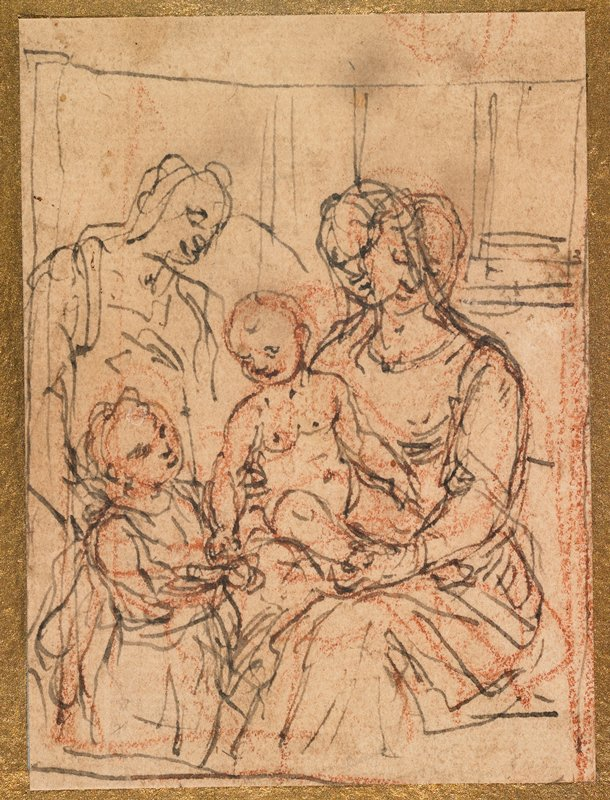 sketchy style; seated Madonna at R with head drawn in two different poses, holding infant Jesus; another figure at L behind St. John