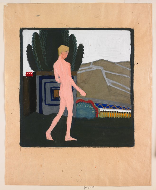 opaque pigments; standing nude with blonde hair, striding; colorful, geometric elements in middle ground; white sky; gold and silver fields, R; tree in background, ULC