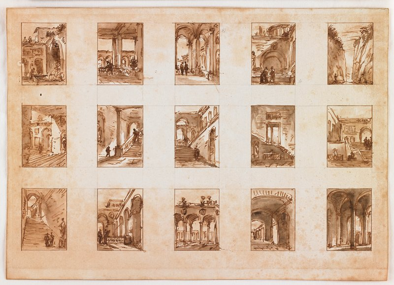 fifteen small sketches on one sheet: arches, staircases, pillars and streets--most contain human figures; sketch in UR corner resembles landscape more than architecture
