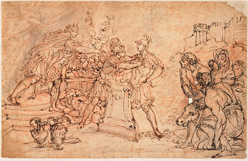 2 soldiers at center; soldier at L grabbing the shoulders of soldier at R; caped man at L extends arm and rushes toward soldiers; figures with cow at R; 2 jugs, LLC; black and brown ink