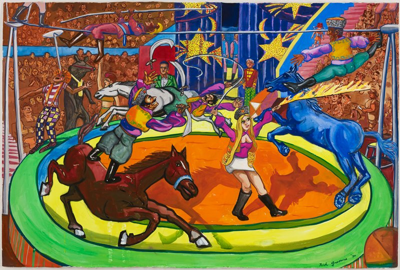wild scene in a green, yellow and orange circus ring; woman with long blonde hair holding a whip and flaming bar with a male acrobat jumping over it onto the back of a running blue horse; man standing on running brown horse at left, juggling swords; another man at back riding sideways on a grey horse; tightrope walkers, ULC; clown balancing a plate on top of pole on his nose at left; dancing bear behind clown