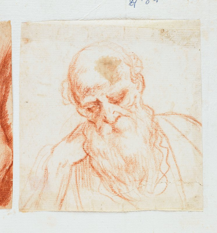 portrait of a bearded man with PR hand on chin, in red chalk; labeled on sheet in blue ink: H.84; mounted on sheet with 3 other small drawings--further drawings have been removed; other drawings present are labeled on the sheet in blue ink: H.82, H.83, H.85; see also L2009.52.67a,b,d