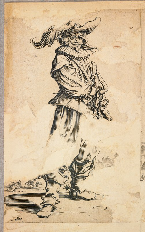 standing man with long hair, beard and moustache, wearing a feathered hat, ruffled collar and boots with spurs; tiny horses and figures in LLC and LRC; affixed to the ULC on back of drawing