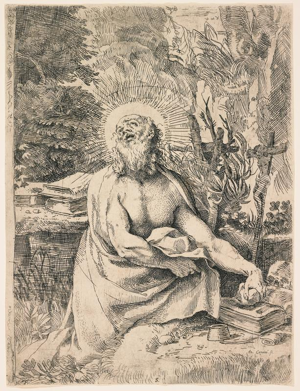 seated St. Jerome wearing a draping garment, looking upward; saint holds rock on top of book at R; crucifix at R; other books at L; tree trunks and foliage in background