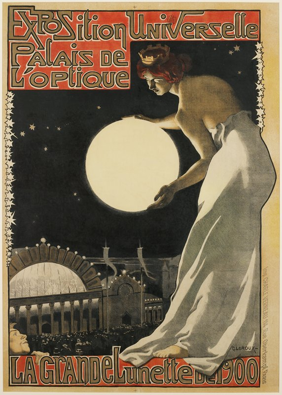 standing woman at right wearing white gown; woman has red hair and wears a crown; woman holds a glowing moon-like orb; night sky with stars and stars at edges of image, left and right; building in LLC; text at top and bottom; mounted on canvas-backed paper