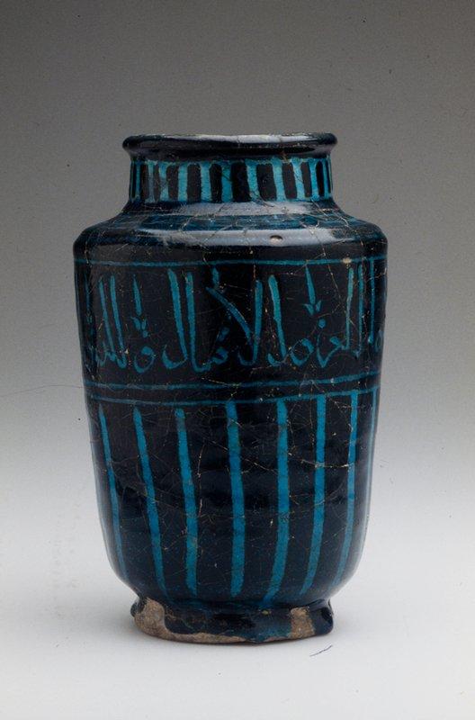 Jar, Black Painted, Blue Glazed