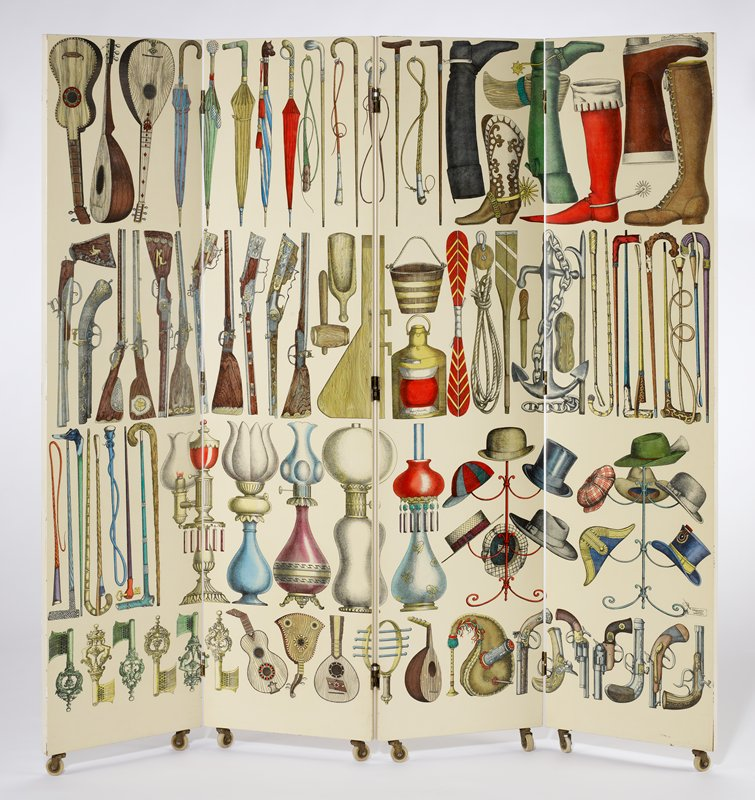 four-fold screen/room divider; white ground and white on back; decorated with multicolored printed designs in four rows of musical instruments (primarily lutes), whips, umbrellas, canes, boots, guns, boating equipment (paddles, ropes, anchor), antique lamps, two hat trees with various hats, and keys; eight white casters