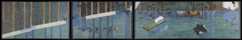 triptych; two smaller panels at left, larger panel at right; each panel framed separately; abstracted image of a river with broken bridge, scarecrow-like figure with chicken, and floating houses, car, table and chairs, bed, lamp