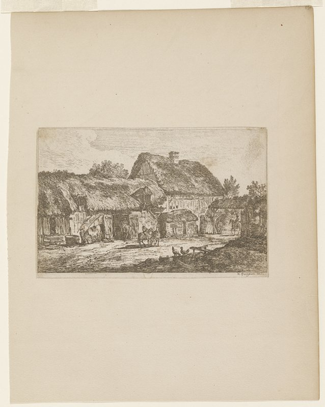 stable yard; two thatched buildings at top; arched entrance to yard; men on horses entering yard, entering lower building, watering horse and in center of image riding a team of horses