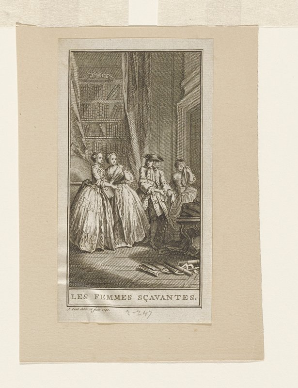 one of four prints on a single mat; three women and a man in a library/study; woman at right rear with cloth to face; on floor next to desk broken scientific(?) equipment