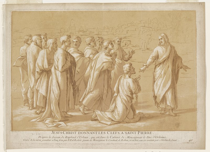 Jesus Christ at right arms extended; St. Peter kneeling to his right; ten other men standing behind Peter; sketchy city in background