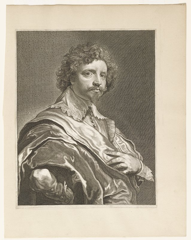 portrait bust; man with small beard, mustache, curly hair; 3/4 view; elaborate clothing with lace edged high collar and cuffs