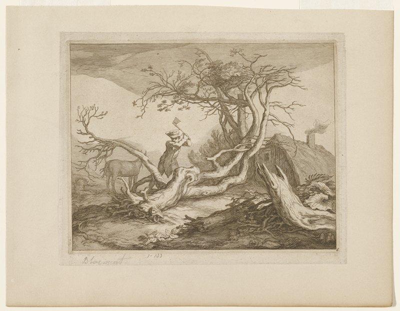 man chopping fallen tree; horse at left; building right rear