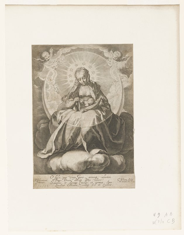 Virgin Mary seated with child on lap; clouds, small angels and halo of light surround image; circle of 8 stars around head