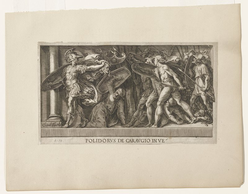 Perseus holding the head of Medusa; large group of soldiers following him; one man on ground with raised shield center front