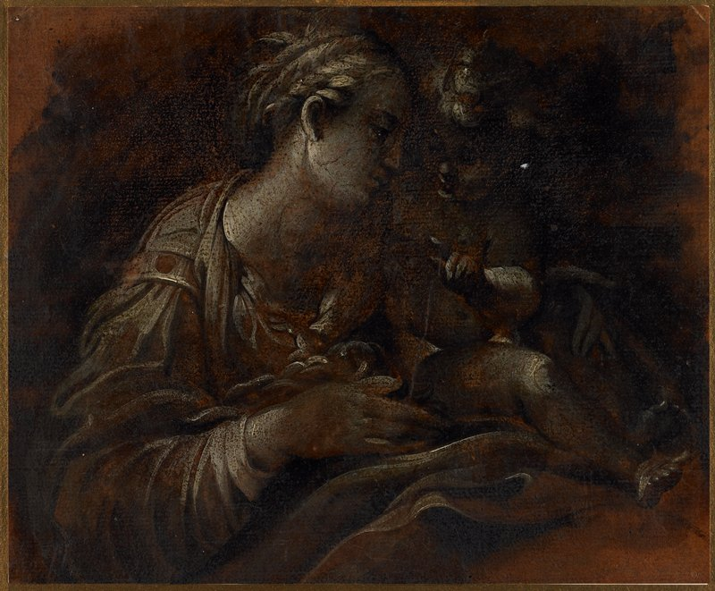 dark image of head and upper torso of Madonna with hair in braided updo, holding Christ Child near her PL shoulder; Christ Child has PL hand raised, with index finger pointing; reddish-brown ground with grey figures