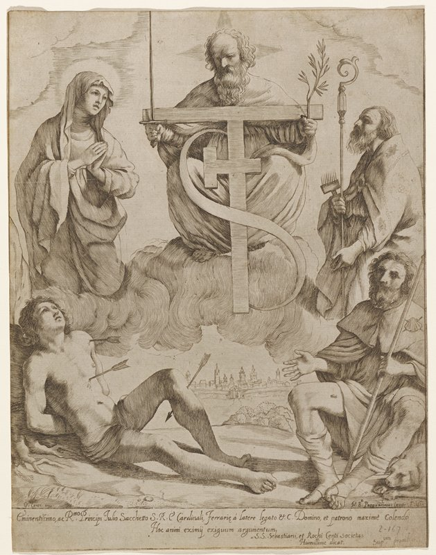 "left foregronmd young man with three arrows in body; above left praying woman; center older man ceated on cloud holding sword in PR hand and branch with leaves in other hand; between arms large""T"" with sideways ""T"" in center and a large ""S"" around all; upper right man holding crook and comb; lower right seated man with staff in hand and seashell pin on PL shoulder"