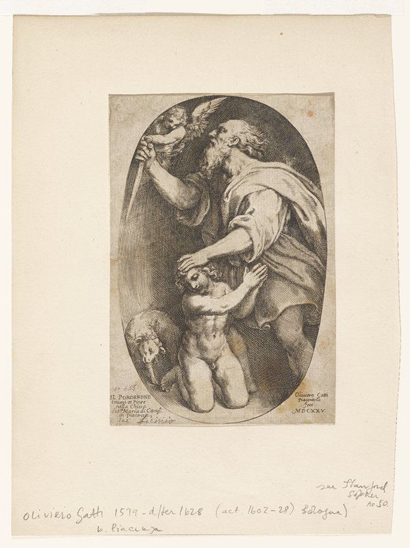man holding knife; boy kneeling at feet; one sheep behind boy; putti above knife; all in oval cartouche