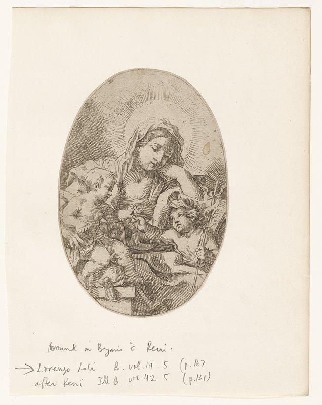 Virgin holding child; cherub offering bird to child