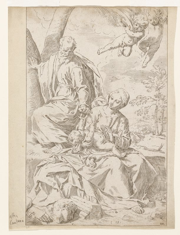 family in landscape; mother and child seated on rock; man above left; two cherubs at top right; broken statue bottom left