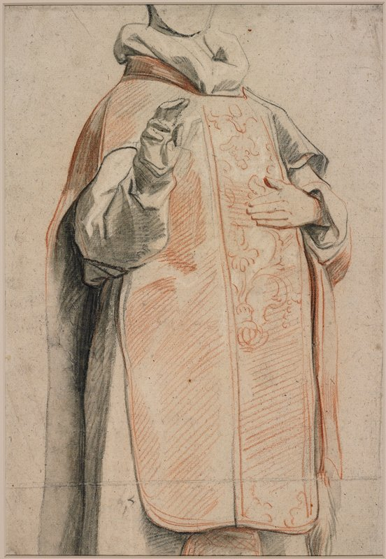 red and black drawing of torso, legs and arms of a figure wearing robes, with red overlay garment with scroll designs on PL side