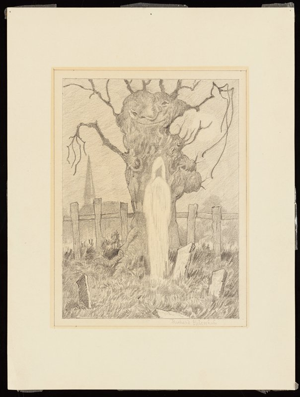 tall, thin ghostly figure standing in front of a personified tree in a graveyard