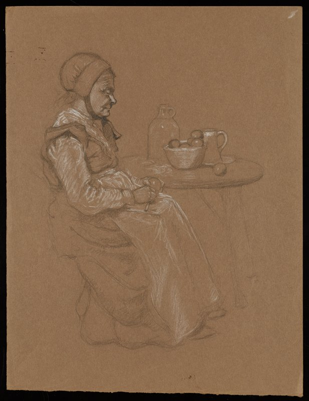 seated old woman seen in profile from PR, wearing a bonnet and a long apron; woman peels fruit; table behind woman with bowl of fruit, jug and pitcher