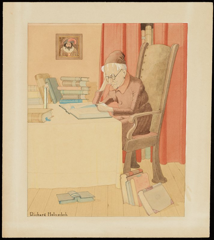 old man with white hair, wearing glasses and brick red cloak and cap, seated in a chair with a tall back at a table, looking at a book; stacks of books and candlestick on table; books against chair and on floor