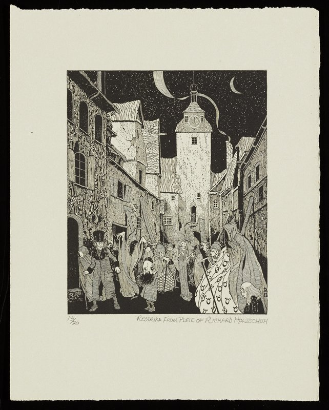 couple in LLC, with woman in hooded cloak and man in top hat and overcoat with walking stick, huddled in LLC, on a narrow street at night, surrounded by ghostly figures and fantastic people; night sky with crescent moon, URC, with stars; smoke from chimney in URQ; restrike