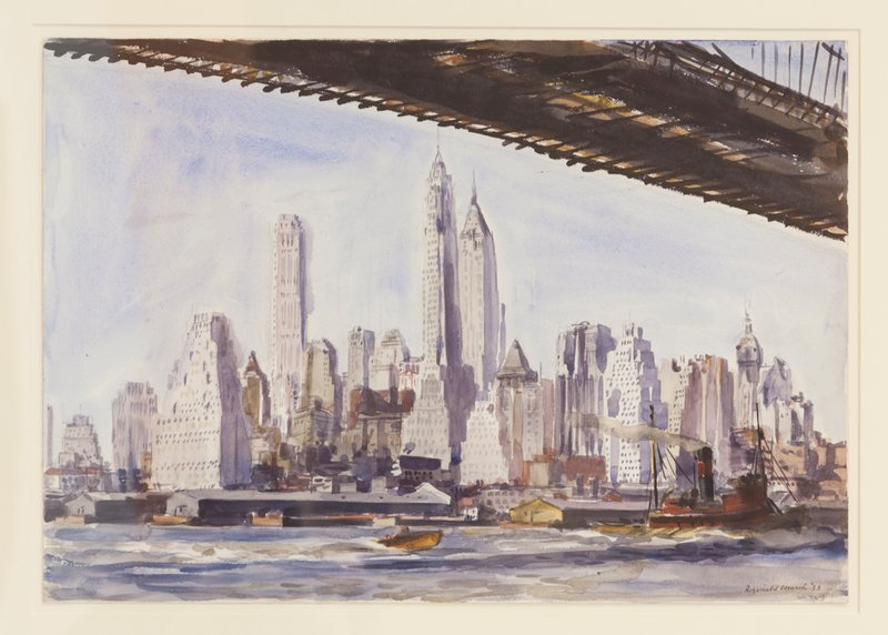 underside of bridge at top and URC; New York skyline; boats on water in foreground