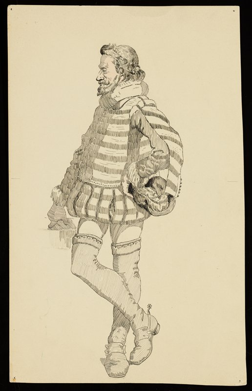 standing man turned slightly toward PL, wearing a striped tunic, tights, long socks and shoes with spurs, and holding a feathered hat