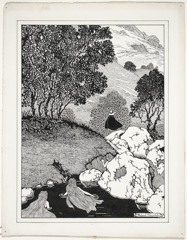 two woman with very long hair, seen from back, swimming at LLC; other woman visible behind rock in LRQ; women watch a man wearing a dark cloak walking through a mountain landscape with grasses and trees