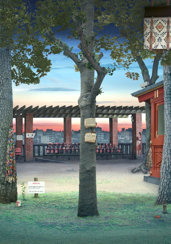 three tree trunks in foreground of outdoor temple; crowded city landscape with tall-rise buildings in background; black metal frame on light box