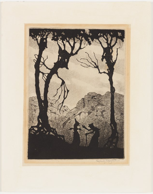 black silhouettes of three personified trees, two at left and one at right; two figures in silhouette between trees at bottom; figure at left leans on a cane; rocky mountains in background