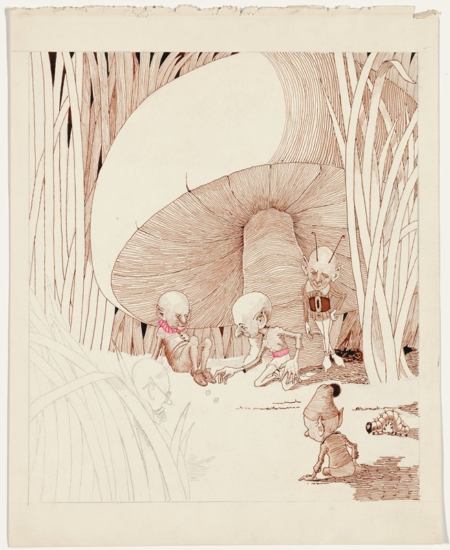 two elves with very large heads playing dice, seated under a mushroom; three other elves look on--one with antenna stands, leaning against mushroom stem, small seated elf wearing cap with pompon in LRC; another elf at left wearing glasses peeks out from grasses; caterpillar, LRC; unfinished